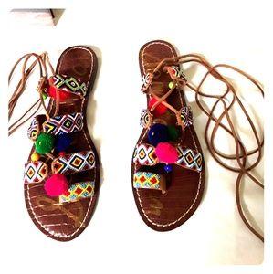 SAM EDELMAN Leather Gladiator Sandals Ethnic Beads